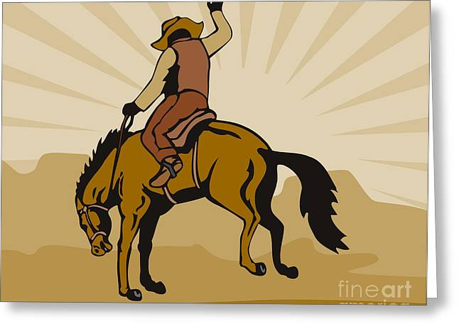 Wild Horses Greeting Cards - Rodeo Cowboy Bucking Bronco Greeting Card by Aloysius Patrimonio