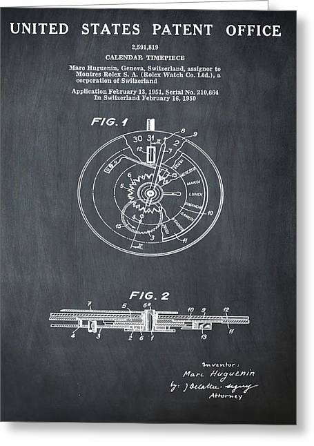 Rolex Watch Patent 1999 In Chalk Greeting Card by Bill Cannon