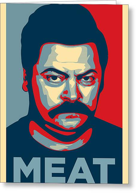Ron Swanson Greeting Card by Taylan Soyturk