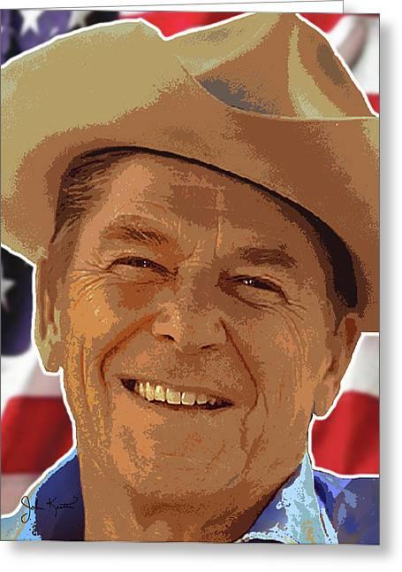 Ronald Reagan Greeting Card by John Keaton