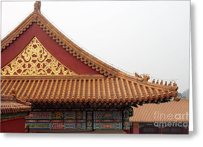Thomas Marchessault Greeting Cards - Roof Forbidden City Beijing China Greeting Card by Thomas Marchessault