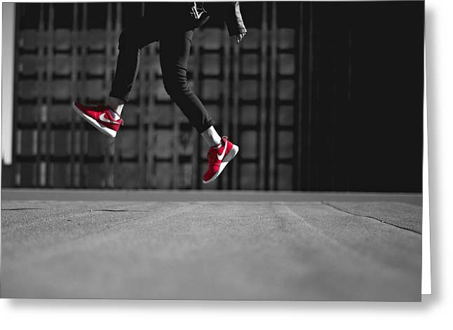 White Sneakers Greeting Cards - Rooftop Leap Greeting Card by Redd Angelo