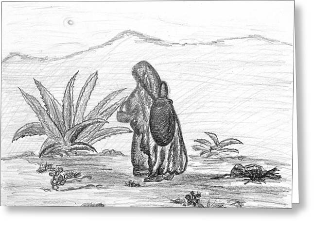 Indigenous Drawings Greeting Cards - Rosarito Returning Greeting Card by Puente
