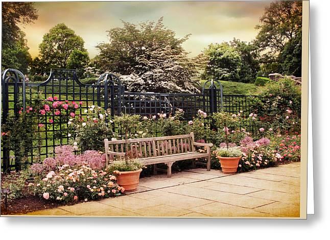 Botanical Gardens Greeting Cards - Rose Garden Trellis Greeting Card by Jessica Jenney