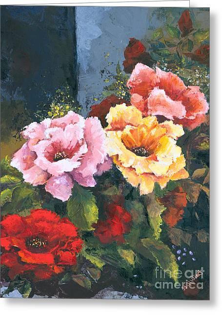 Yellow Flower Gift Greeting Cards - Roses Greeting Card by Elisabeta Hermann