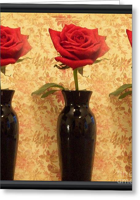 Red Wallpaper Greeting Cards - Roses In A Row Greeting Card by Marsha Heiken