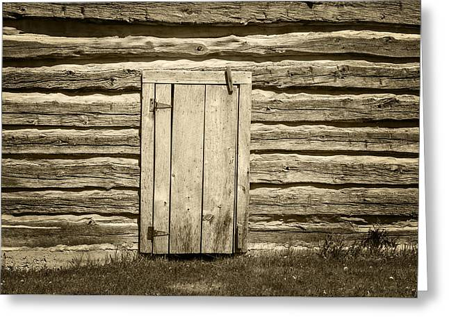 Log Cabin Photographs Greeting Cards - Rough Wood Door on Log Building Greeting Card by Donald  Erickson