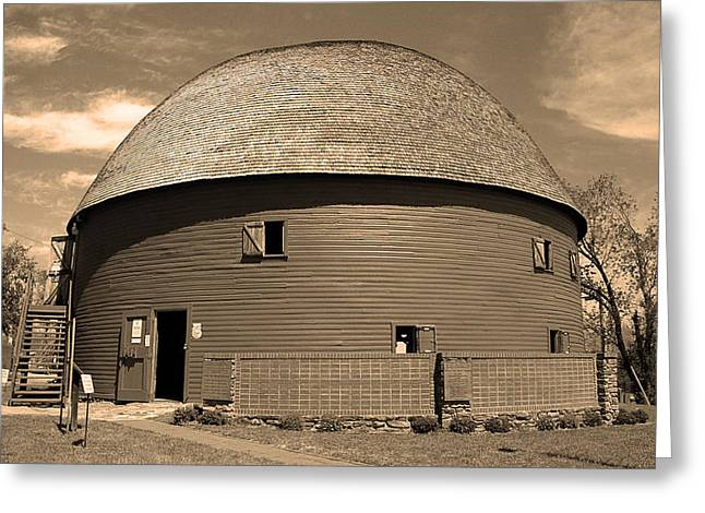 Barn Dance Greeting Cards - Route 66 Round Barn Greeting Card by Frank Romeo
