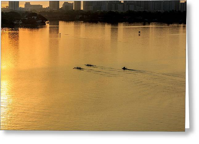 The North Pyrography Greeting Cards - Rowing under the sunrise Greeting Card by Satoshi Kina