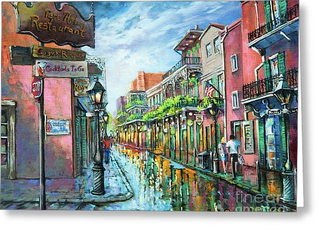 Street Scenes Greeting Cards - Royal Lights Greeting Card by Dianne Parks