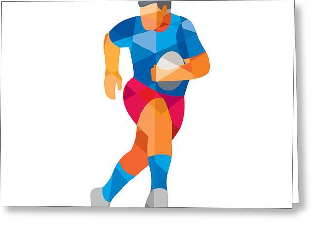 Geometric Artwork Greeting Cards - Rugby Player Running Low Polygon Greeting Card by Aloysius Patrimonio