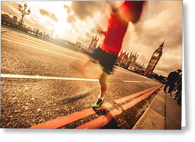 Jogging Greeting Cards - Runner in Central London Greeting Card by Leonardo Patrizi