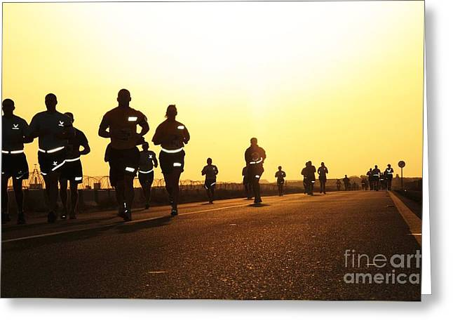 Runner Greeting Cards - Runners Greeting Card by Celestial Images