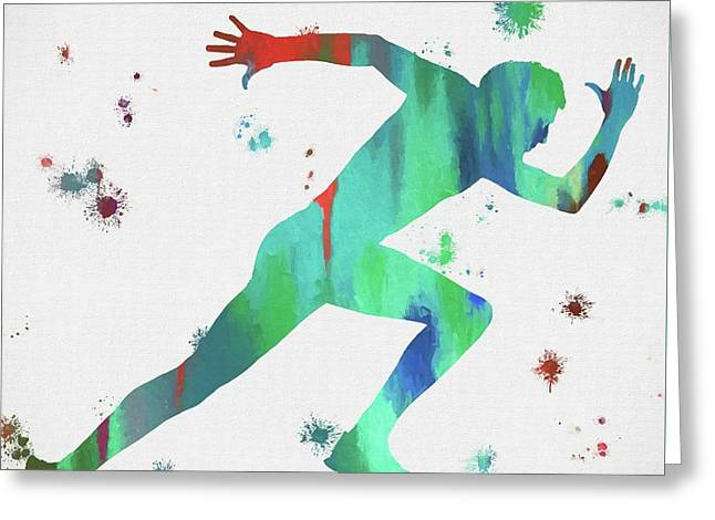 Running Man Paint Splatter Greeting Card by Dan Sproul