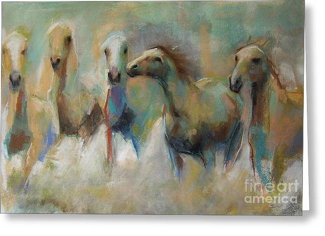 Running With The Palominos Greeting Card by Frances Marino
