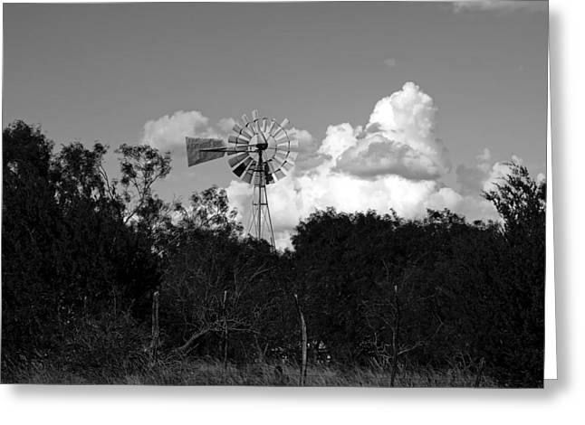 Hamilton Texas Greeting Cards - Rural Texas Windmill Greeting Card by Mountain Dreams