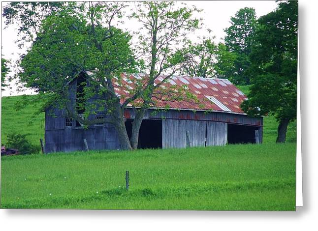 Red Roofed Barn Greeting Cards - Rustic Greeting Card by Dottie Gillespie