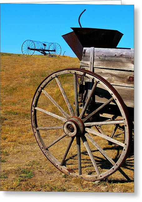 Rustic Wagon Greeting Card by Perry Webster