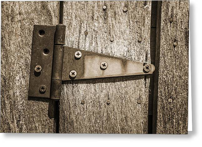 Outbuildings Greeting Cards - Rusty Hinge on Log Building Greeting Card by Donald  Erickson