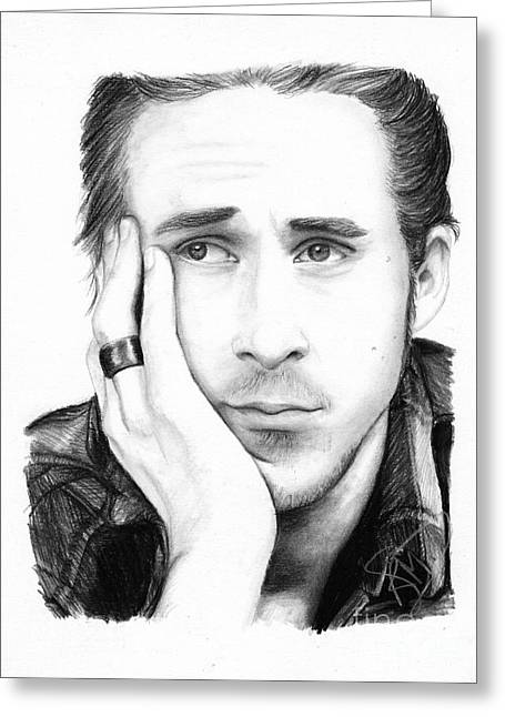 Charcoal Portrait Greeting Cards - Ryan Gosling Greeting Card by Rosalinda Markle