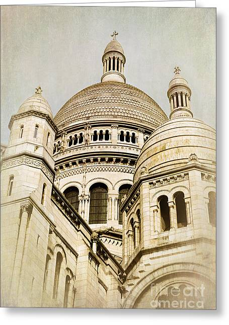 Sacred Photographs Greeting Cards - Sacre Coeur sepia Greeting Card by Jane Rix