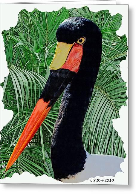 Saddle Digital Greeting Cards - Saddle-billed Stork Greeting Card by Larry Linton