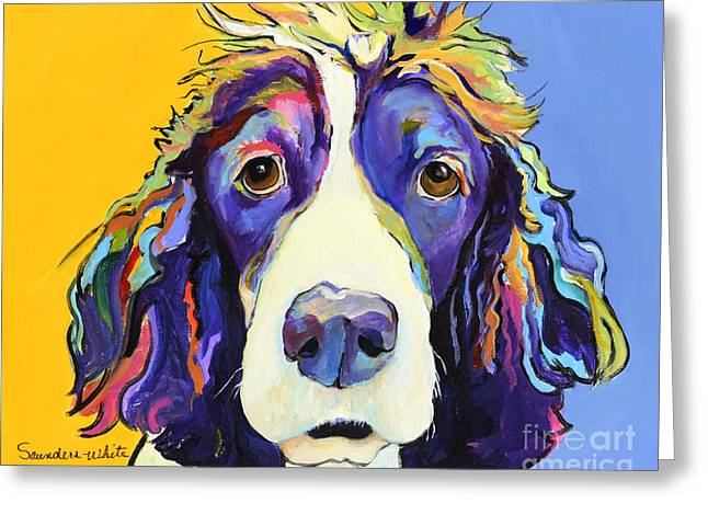 Yellow Dog Paintings Greeting Cards - Sadie Greeting Card by Pat Saunders-White
