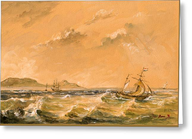 Sail Ship Greeting Card by Juan  Bosco