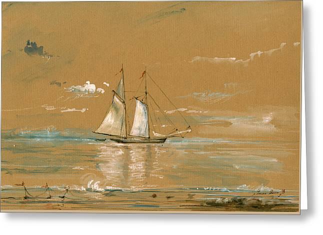 Sail Ship Watercolor Greeting Card by Juan  Bosco