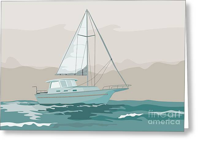 Sailing Ship Greeting Cards - Sailboat Retro Greeting Card by Aloysius Patrimonio
