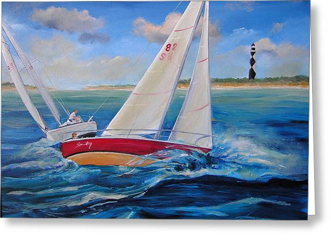 Cape Lookout Greeting Cards - Sailing at Cape Lookout Greeting Card by Sharon Kearns