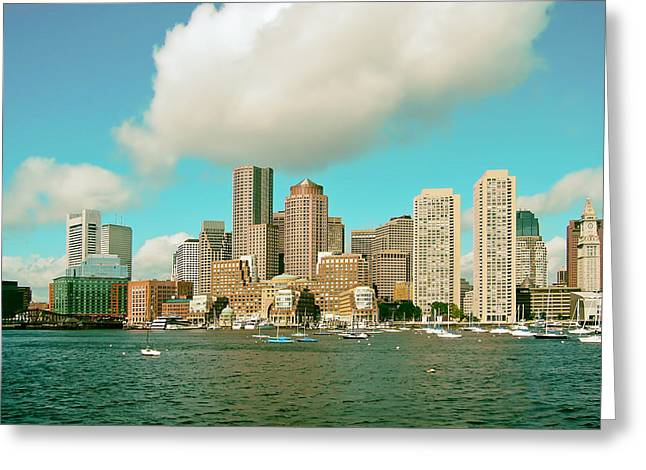 Sailboat Photos Greeting Cards - Sailing in the Shadow of Boston Greeting Card by Nelson48