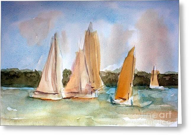 Sailing Paintings Greeting Cards - Sailing  Greeting Card by Julie Lueders