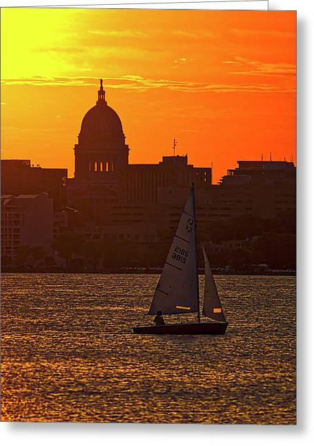 Sailing - Lake Monona - Madison - Wisconsin Greeting Card by Steven Ralser