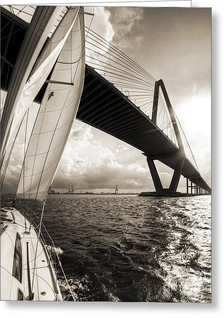 Charleston Greeting Cards - Sailing on the Charleston Harbor Beneteau Sailboat Greeting Card by Dustin K Ryan