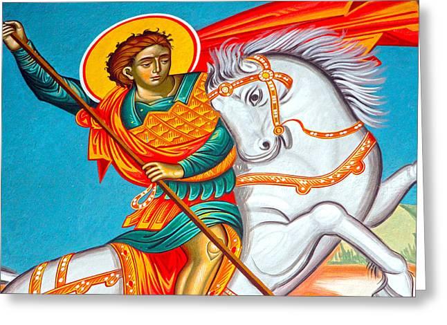 Saint George Greeting Cards - Saint George Greeting Card by Munir Alawi