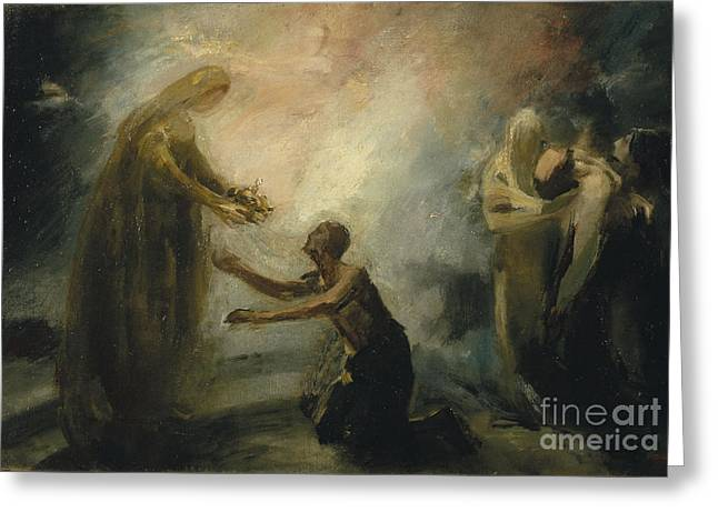 Dalt Greeting Cards - Saint Isabel Offering the Queens Crown to a Beggar Greeting Card by Aleix Clapes