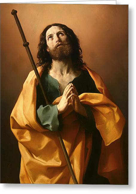Praying Hands Paintings Greeting Cards - Saint James the Great Greeting Card by Guido Reni
