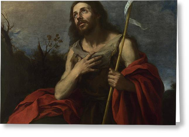 Bartolome Esteban Murillo Greeting Cards - Saint John the Baptist in the Wilderness Greeting Card by Celestial Images