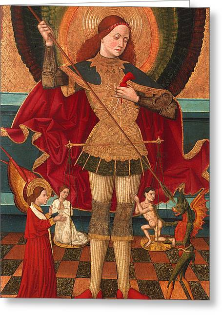 Religious work Paintings Greeting Cards - Saint Michael Weighing Souls Greeting Card by Juan de la Abadia the Elder
