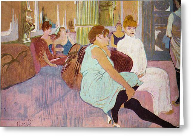 Prostitution Paintings Greeting Cards - Salon in the Rue Des Moulins  Greeting Card by Toulouse Lautrec