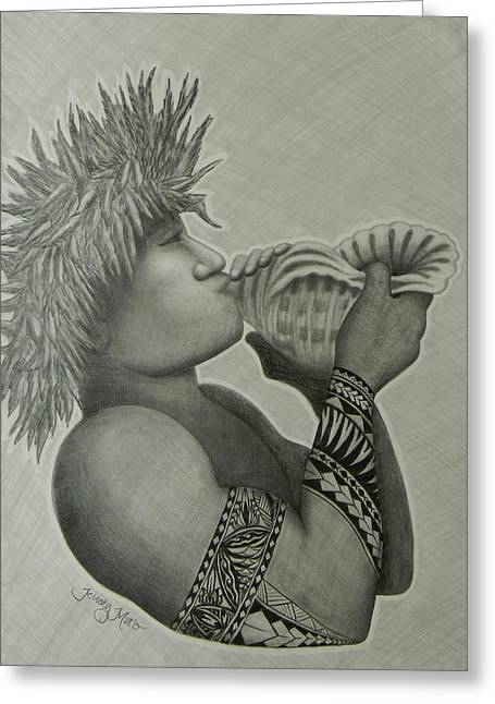 South Pacific Drawings Greeting Cards - Samoan Taulima Greeting Card by Kristy Mao
