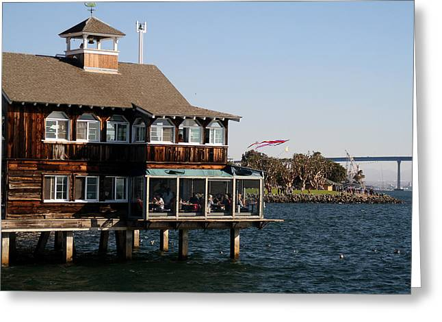 Wood Pier Framed Prints Greeting Cards - San Diego Bay Greeting Card by Christopher Woods