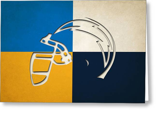 San Diego Chargers Greeting Cards - San Diego Chargers Helmet Greeting Card by Joe Hamilton