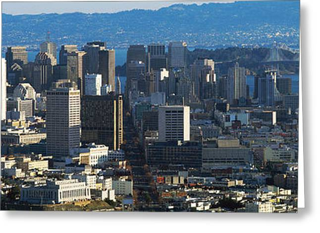 Downtown San Francisco Greeting Cards - San Francisco, California Skyline Greeting Card by Panoramic Images
