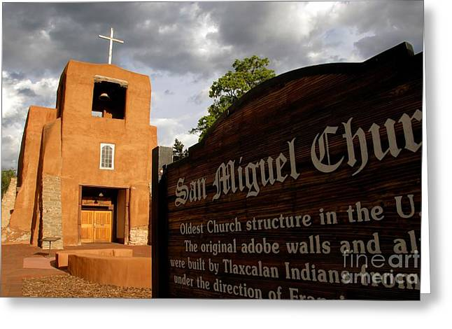 Adobe Greeting Cards - San Miguel Mission Church Greeting Card by David Lee Thompson