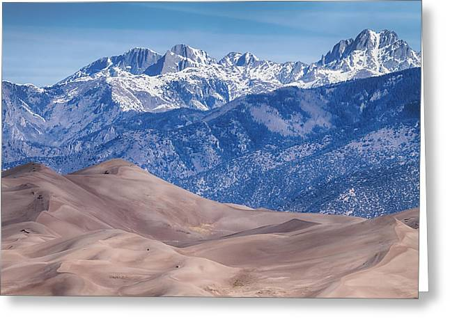 Large Sand Dunes Greeting Cards - Sand Dunes and Rocky Mountains Greeting Card by James BO  Insogna