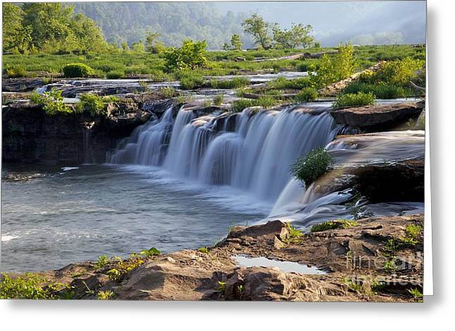Abstract Waterfall Greeting Cards - Sandstone Falls WV Greeting Card by Sean Cupp