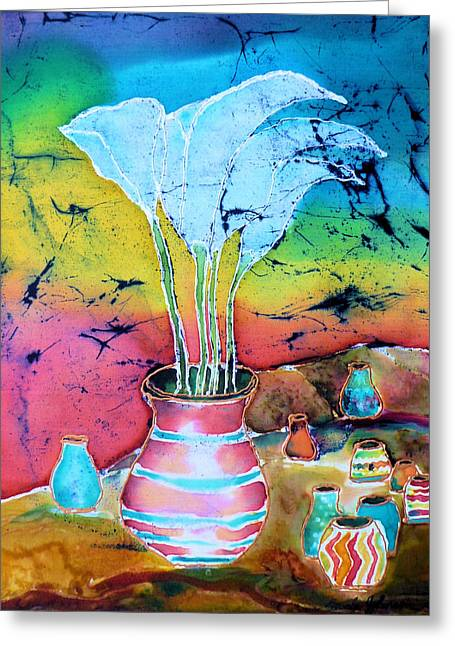 Sunset Tapestries - Textiles Greeting Cards - Santa Fe Lilies-New Mexico Greeting Card by Beverly Johnson