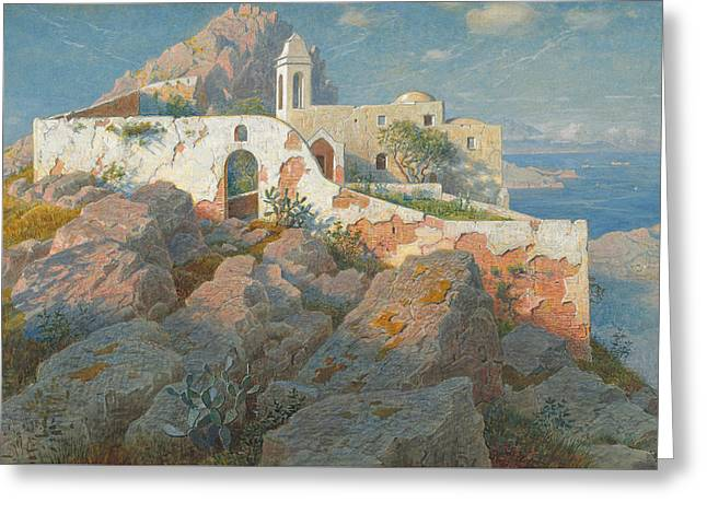 On High Greeting Cards - Santa Maria a Cetrella  Anacapri Greeting Card by William Stanley Haseltine